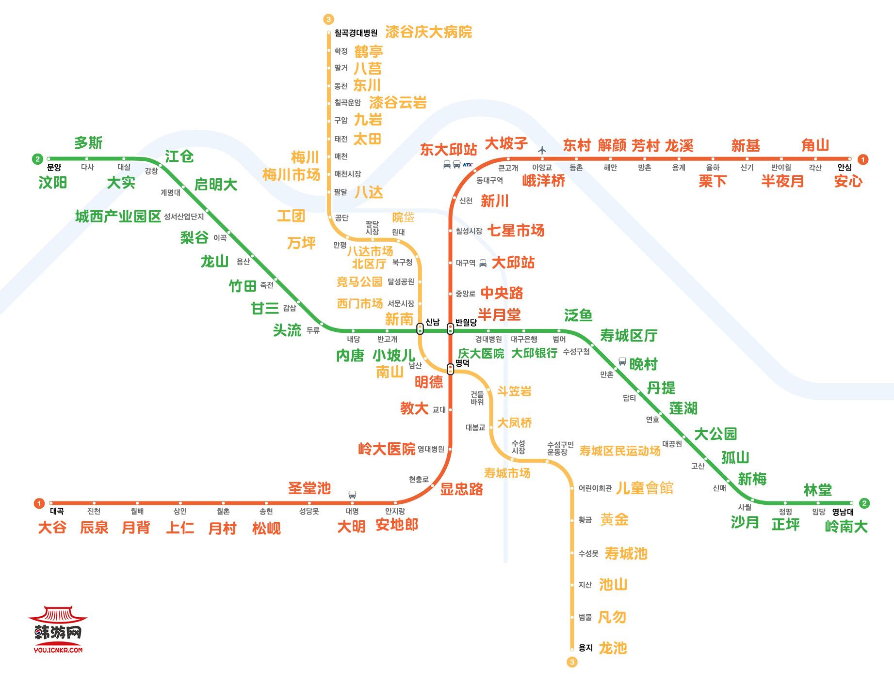 Daegu Subway Map 大邱地鐵路線圖